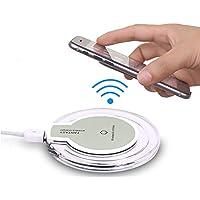 Aventus (White Wireless Pad + Qi Receiver) HTC Desire 816 / HTC Desire 816G Dual Sim Mini Stazione Caricabatterie Qi Wireless Pad Ultrasottile Con Anti-Slip Gomma E Ultra Sottile QI Wireless Adattatore Ricevente per Caricabatterie