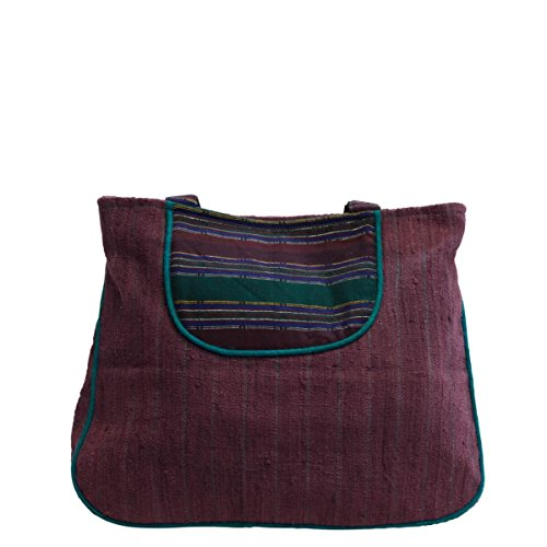 manbefair Fair Trade Shopper aus Eri-Seide Schultertasche Florenz Umhängetasche Hobo Bag Tasche 42x32 cm (BxH) (Schwarz-Rot)