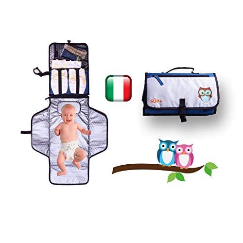 Fasciatoio portatile da viaggio neonato pieghevole - idea regalo-[2a generazione] gufo portafortuna cuscino imbottito impermeabile kit cambio pannolini