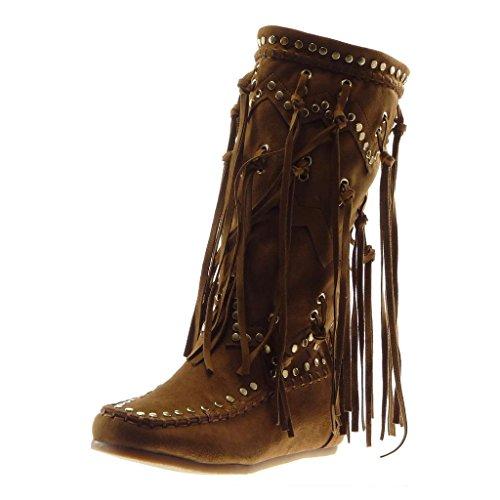Angkorly Damen Schuhe Stiefel - Mokassin Stiefel - Reitstiefel Kavalier - Folk - Fransen - Nieten - Besetzt Flache Ferse 5 cm - Camel B7675 T 39 (Damen Flache Stiefel Camel)