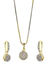 Zeneme American Diamond Gold Plated Jewellery Necklace for Girls Fashion Pendant Set/Necklace Set with Earrings for Girls and Women : Best Rakhi Gift Jewellery