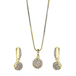 Zeneme American Diamond Gold Plated Pendant Set With Earring For Girls / Women