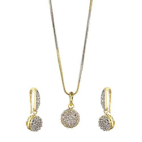 Zeneme American Diamond Gold Plated Jewellery necklace for girls fashion party wear Pendant Set / Necklace Set with Earrings for Girls and Women : Best Rakhi Gift Jewellery