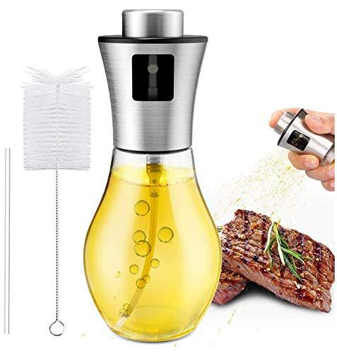 Gifort Öl Sprayer, Ölsprüher Ölspender mit gratis Tube Bürste und Trichter Öl Sprühflasche Auslöser für BBQ Brot backen Küche Kochen (200ML)