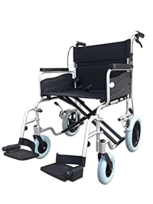 "ZT- ALU Wide - Heavy Duty Transit Travel Transport Wheelchair with Handbrakes and Ultra Wide 22"" seat"