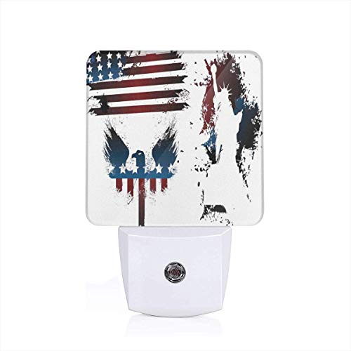 Set With Bald Eagle Symbol And Stripes Stars Statue Of Liberty Grunge Theme Plug-in LED Night Light Lamp with Dusk to Dawn Sensor, Night Home Decor Bed Lamp