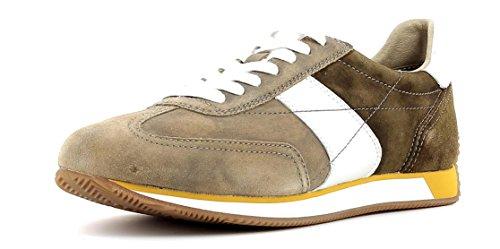 Geox Herrenschuhe U722LA Vinto Sportlicher Herren Sneaker, Schnürhalbschuh Braun (Taupe/Ebony), EU 45 (Leder-hi-low Rock)