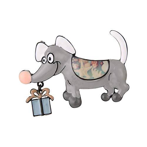 CCJIAC Vintage Hund Broschen Für Frauen Kleine Brosche Mode Emaille Legierung Geschenkbox Kleid Mantel Zubehör Pins Schmuck -