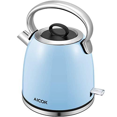 Aicok Wasserkocher Retro, 1,7 Liter Wasserkocher Edelstahl mit Herausnehmbarer Kalkfilter, Teekocher Vintage mit Automatische Abschaltung, 2200W, BPA Frei, Blau