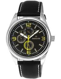 Sinobi SS0048G-2 - Reloj analógico de caballero de cuarzo con correa de piel negra