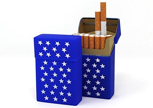 2X Zigarettenbox aus Silikon   Dunkelblau mit Sternen   Zigarettenhülle   Zigarettenetui - Passend für Eine Zigarettenschachtel in Standardgröße 20/21   Passend für die Neuen 21er Schachteln