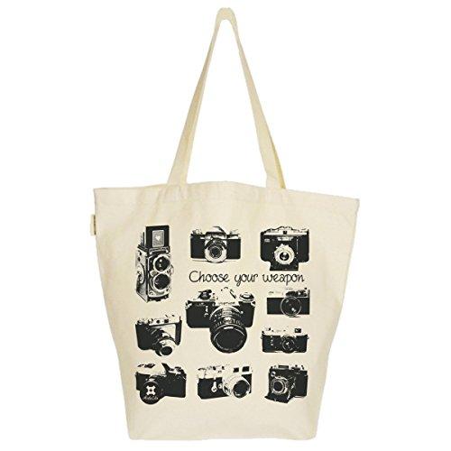Grand Sac Cabas Fourre-tout Imprimé Toile Bio 37x45x20cm Tote Bag XL - Appareils Photo Vintage