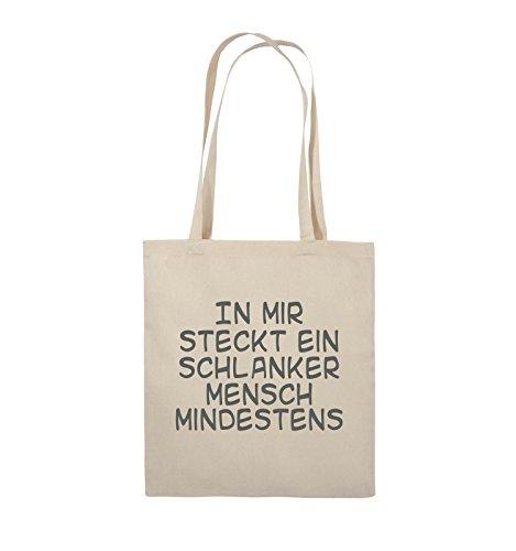Comedy Bags - In mir steckt ein schlanker Mensch mindestens - Jutebeutel - lange Henkel - 38x42cm - Farbe: Schwarz / Pink Natural / Grau