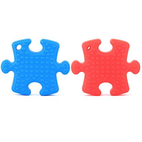 Dsaren Halskette Beißring Silikon Kinderkrankheiten Spielzeug Kauen Halskette für Autismus ADHD ADD Oral Motor Zahnen und Beißen braucht 2 Stücke (Blau&Rot) (Kleidung Puzzle-stück)