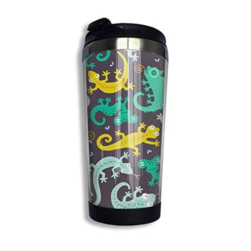 Gecko- und Eidechsen-Edelstahl-Reise-Kaffeetassen mit Deckel, isoliert, 13 oz / 400 ml (20 Unze-kaffee-tasse Deckel)