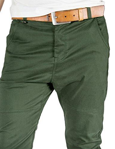 ITALY MORN Herren Chino Designer Hose Casual Stoff Hose Chinohose Jogginghose Slim Fit Armee Grün