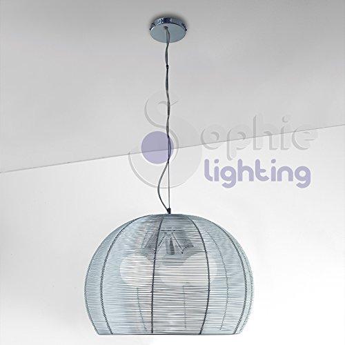 Globe-diffusor (Moderne Hängeleuchte Design Höhenverstellbar 3 Lichter Diffusor Aluminiumdraht Rund Globe Kugel Chrom Küche Tisch TEKSAB S40 SOPHIE LIGHTING)