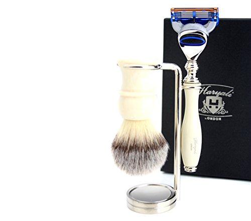 Rasur Geschenk-Set für Männer (Kunsthaar Pinsel, Gillette Fusion elfenbein Farbe Griff, Stahl und Chrom-Halterung) (Haar-pinsel-set Männer)