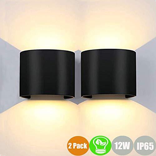 2 * 12W apliques pared interior/exterior blanco cálido Lámpara de pared 3000K moderno apliques pared...