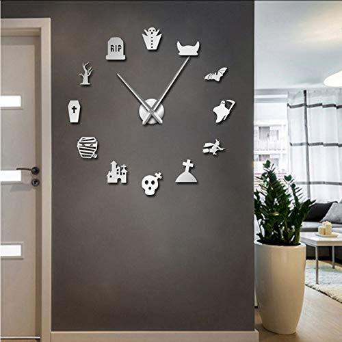 txyang Halloween DIY Große Wanduhr Modernes Design Grab Teufel Frameless Icon Wanduhr Home Art 3D Big Ghost Spiegel Aufkleber Uhr