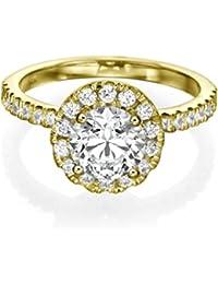 1.00 CT Diamond Engagement Ring Genuine Round Cut Main Stone E-F/I1-I2 14ct Yellow Gold Halo