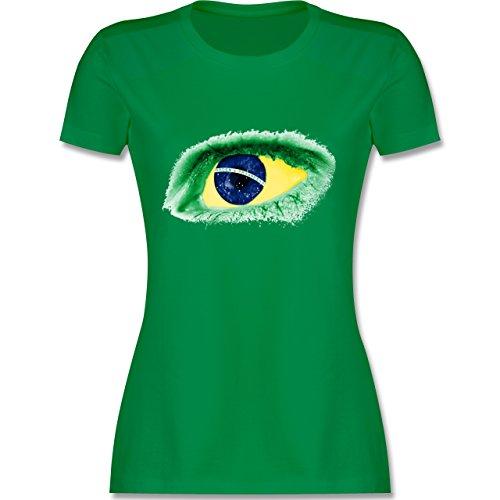 Länder - Auge Bodypaint Brasilien - XXL - Grün - L191 - Damen Tshirt und Frauen T-Shirt