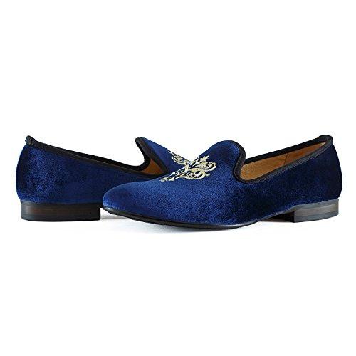 Journey West Mocassins Homme Broderie Noble Mocassins Velours Chaussure Vintage Chausson Fantaisie Chaussures Homme Loafers Homme Slippers Homme Pantoufle Noir/Rouge/Bleu vigne bleue