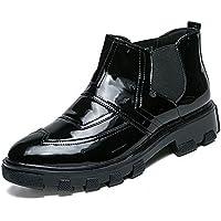Lingqiqi Bota de Hombre Personalidad de Negocios Oxford Clásico Alta Tendencia Top Suela de Charol Zapatos Brogue de Cuero Invierno (Color : Negro, tamaño : 38 EU)
