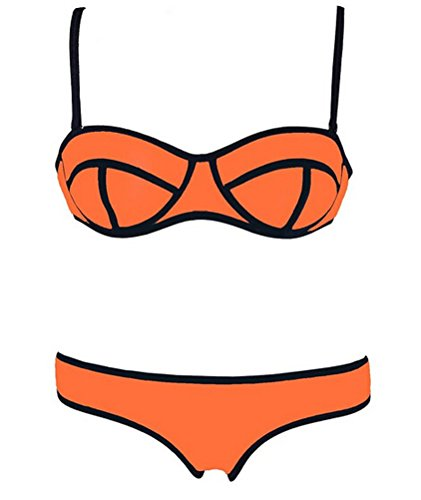 Brinny Sexy Damen Sport Driving Suit Push up padded Bikini-Set Bademode Bandeau Tops Bottom Orange