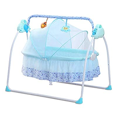 DBSCD Baby Cradles by Bed Electric Baby Crib Cradle Auto Rocking Chair Newborns Bassinets Sleep Bed,Rocking Music Remoter Control Sleeping Basket Bed Newborns Sway Baby Swing