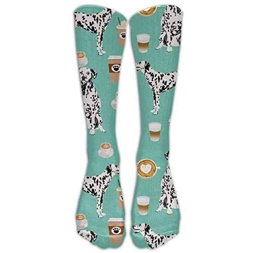 Cute Dog And Coffee Sock Classic Fancy Design Multi Colorful Crew Knee High Socks Running Soccer Stockings