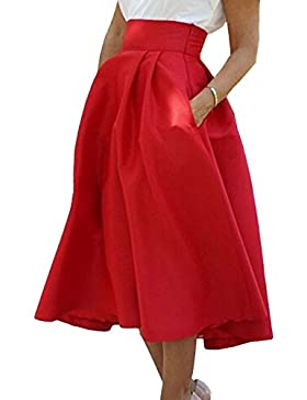 Verano Mujer Casual Moda Palacio Midi Faldas con Bolsillos Solid Plisada Faldas de Partido Cóctel Fiesta Ceremonia