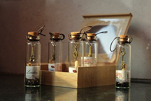 Best Gift for your Loved Ones - Best Filling Pearls Designs Little 5 pc Message Bottles 4cm Tall - Birthday Anniversary Couple Gift Specially Valentines Day Gift for Girlfriend / Boyfriend With WOODEN BOX {5 pc Set} by McClub