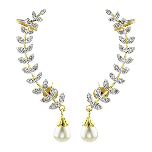 Awww Gold Plated American Diamond Leaf Shape Ear Cuff Earring Jewellery For Women / Girls  available at amazon for Rs.259