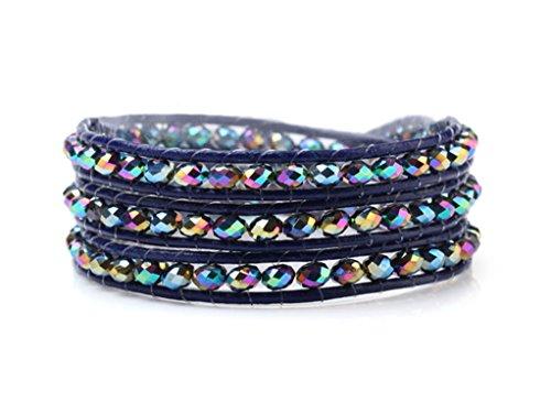 FAB TreasureBay Wickelarmband Synthetik, 4 mm, Crystal Perlen Hand Geknüpft Blau Wickelarmband Leder Kordel