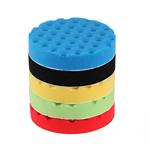 SPTA 7inch (180mm) Green/Blue/Black/Red/Yellow Buff Polishing Pad For Car Polisher-DIY Quality Pack of 5Pcs