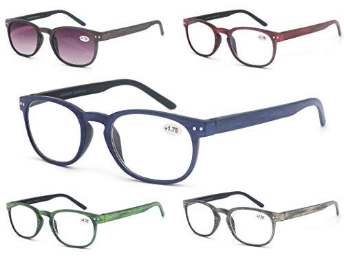 MODFANS (5 Pack) Lesebrille 2.75 Rund Herren/Damen,Gute Brillen,Hochwertig,Komfortabel,Super Lesehilfe,fur Manner und Frauen
