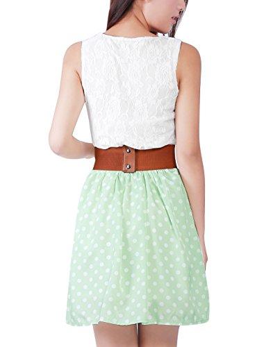 Sourcingmap Robe sans manches avec ceinture Blanc/vert Taille XS *