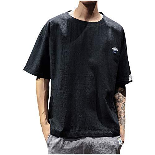 948fbf416b waotier Camiseta De Manga Corta De Hombre Verano Casual Bordado AlgodóN  Lino O-Cuello De