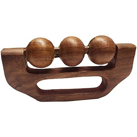 PMK Masajeador de madera empuñadura 3 diseño de la bola alivio del dolor con 6 pulgadas Massager, masajeador de mano de madera que se celebró, acupresión masaje,Regalo para Navidad o