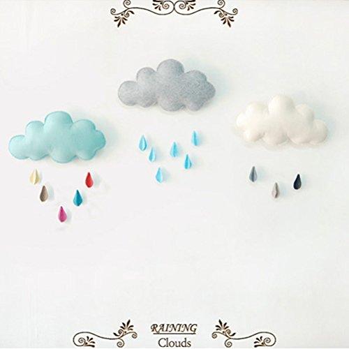 LUOEM Kinderzimmer Dekoration Wolken Regentropfen Hängende Deko Babyparty - 6