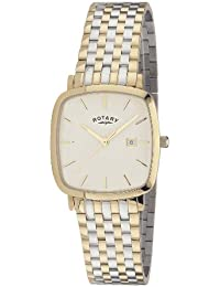 Rotary Gents Square Silver Dial Two Colour Bracelet Watch GB02401/02
