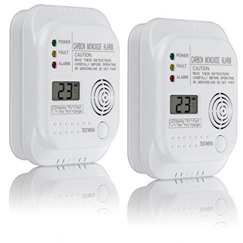 SEBSON Kohlenmonoxid CO Melder, EN 50291 Zertifiziert, batteriebetrieben, Gasmelder mit Display und Temperaturanzeige, 2er Pack