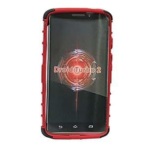 Jo Jo Kick Stand Armor Hybrid Case Cover Bumper Designed For Motorola Droid Turbo 2 Red