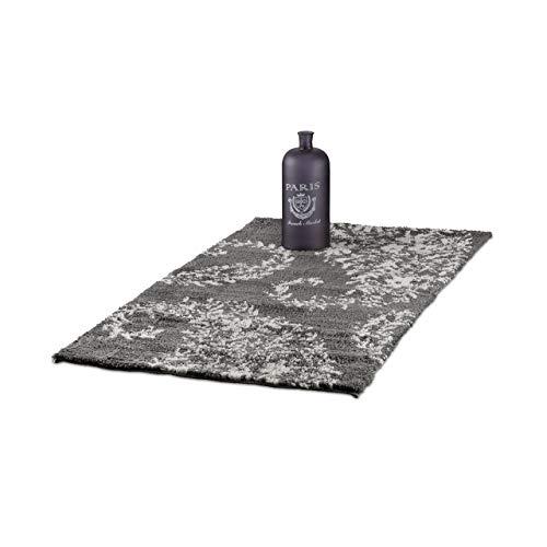 Relaxdays Teppich Shaggy mit Paisley Muster, weicher Flurläufer für Diele, handgewebter Hochflor 70 x 140 cm, anthrazit