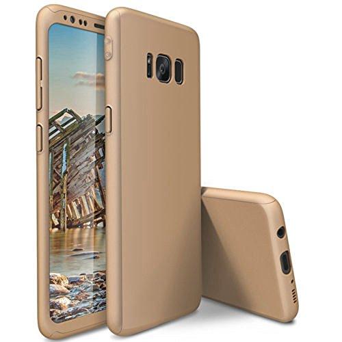 QINPIN Stoßsicherer Fester Telefon-Kasten der vollen 360 ° + Schutzfolie für Samsung S8 Plus 6.2inch Gold