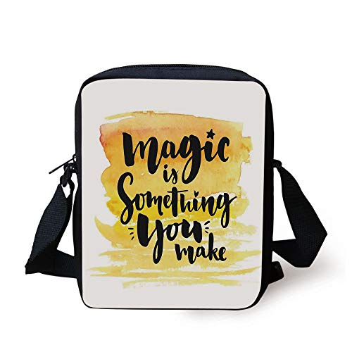 LULABE Magical,Magic is Something You Make Motivational Quote Print with Watercolors Effects,Yellow Black Print Kids Crossbody Messenger Bag Purse (Womens Ball Bowling)