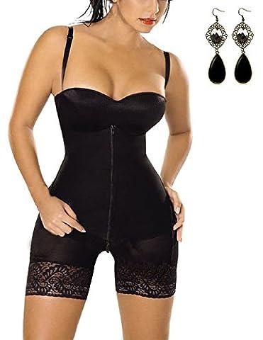 M-Queen Femmes Lingerie Sculptante Combinaisons Corset Panty Serres-taille Bustier Minceur Shapewear Ceinture de Ventre Slim body Shaper 1 Pièce Réversible,Noir-XL