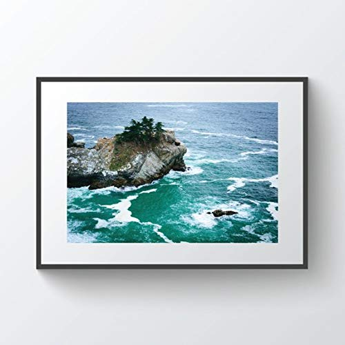 Pfeiffer Big Sur State Park (C-US-lmf379581 View of Waves and Rocks In The Pacific Ocean at Julia Pfeiffer Burns State Park Big Sur California Photo Print Metal Canvas Framed)