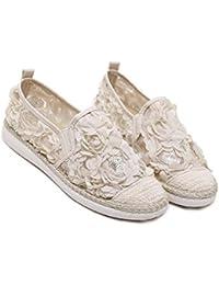 Onfly Zapatillas Zapatos planos Zapatos de lona Zapatos casuales Flores Cordón Lentejuelas Respirable Zapatos perezosos , apricot , 35
